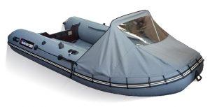 Фото носового тента на лодку Хантер 360, 360А, 390А серый